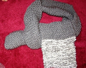 Scarf Grey / white trim  handknitted winter neck knit wrap New christmas gift