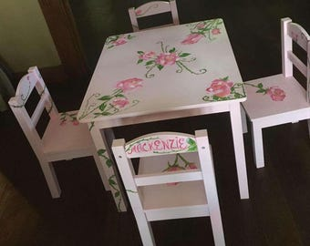 Rose Garden Childs Table and Chair set