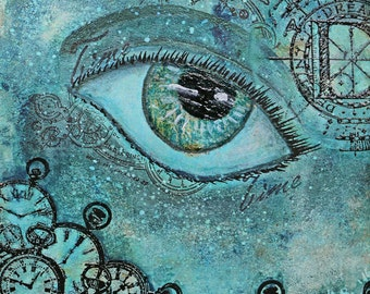Live your dreams - mixed media, painting & stamp art