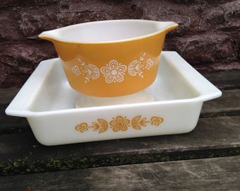 Pyrex Butterfly Gold Cinderella Bowl and Baking Dish / Set of TWO Baking Dishes Casseroles