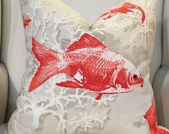 Red Gold Fish Custom Pillow Designer Fabrics