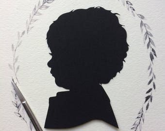 8 by 10 Custom Family Silhouette Portraits, Custom Family Portraits, Custom Hand Cut  Silhouettes, Family Portraits