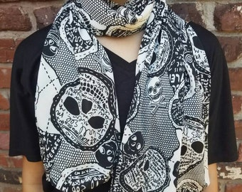 Lacey sugar skull women's scarf