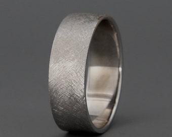 Solid White Gold Men's Wedding Band | Handmade 14k solid white gold rustic men's wedding ring | 3mm 4mm 5mm 6mm 7mm
