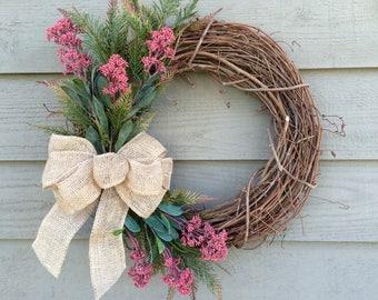 Valentines Wreath, Spring Wreath, Grapevine Wreath, Front Door Wreath, Country Wreath, Spring Wreath
