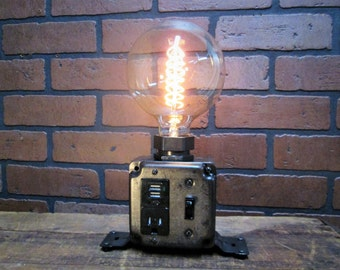 Industrial Desk Lamp - Industrial Phone Charger - Laptop Charger - USB Port - Steampunk Office Decor - Charging Station- Spiral Edison Bulb