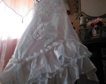Women's handmade white satin dress / wedding dress / white ruffled satin dress / white princess dress / white satin wedding dress /