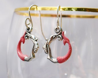 Mermaid Earrings - Sterling Silver Earwires, Pink