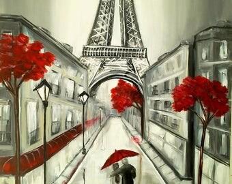 Romantic Paris, original painting, unique piece