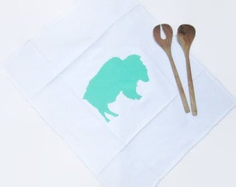 White cotton kitchen towel with animal print, Green print bison tea towel, Hand printed tea towel, Housewarming gift for her, Gift for her,