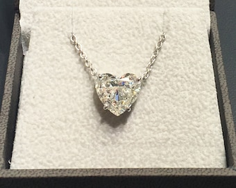 Heart Shaped Diamond Pendant, Heart Diamond Necklace, White Gold Necklace, Gold Diamond Pendant, Luxury Gold Necklace FREE SHIPPING