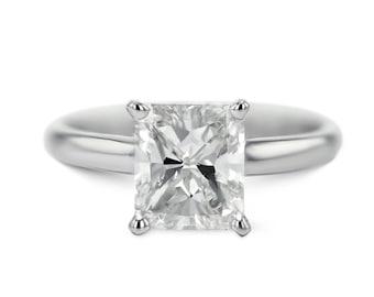 Diamond Engagement Ring 14K White Gold 1.08 Carat Radiant Cut FREE SHIPPING