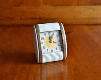 Clock Vintage Wind-up Travel Alarm Clock Westclox with Roll-top Face Cover
