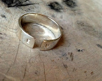 Men's Initial Ring, Personalized Silver Ring, Mens Ring, Sterling Silver ring for man, Customize ring, gift ring for man, man promise ring