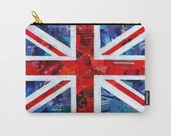 Union Jack bag, British Flag pouch, British Flag Carry-All, Coin purse, IPAD Case, Artpoptart, Mixed Media