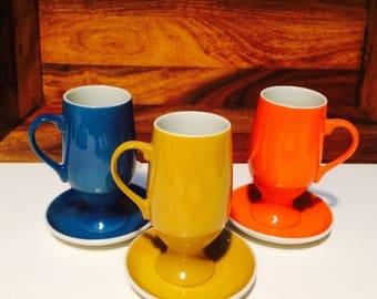LaGardo Tackett Porcelain Schmid Demitasse, Midcentury Mod, Orange Espresso Set of 3 Small Cups