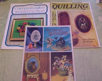 Three 1974 instruction booklets guides The Art of Quilling Concepts in Quillery