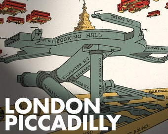 LONDON 1929 - Piccadilly Circus - underground - tube - subway - FREE shipping