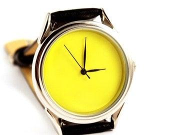 Free engraving Yellow watch, yellow quartz watch, yellow