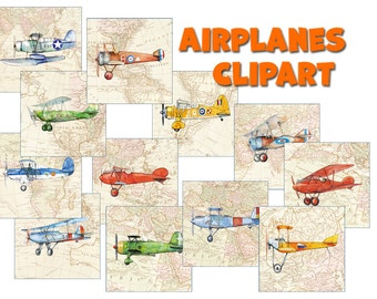 Airplane clipart, boys nursery planes digital decor, Map planes clipart, Printable Baby shower, Boys room wall art, Aviation party clipart