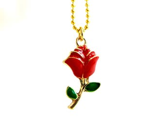 The Beauty And The Beast Necklace, Red Rose Necklace, PRINCESS BELLE Necklace ,Belle Necklace, Belle Red Rose Necklace ,Belle Costume