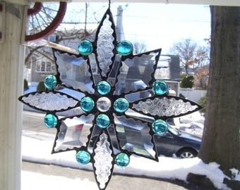 Stained Glass Blue Star Sun Catcher