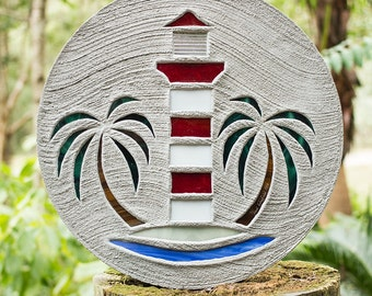 Red & White Lighthouse Stepping Stone #44