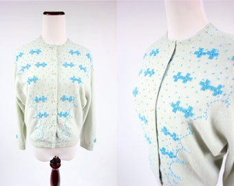 50s/ 60s Angora & Wool Glacial Green Beaded Floral Cardigan Sweater