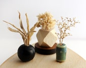 Set of 3 Miniature Vases - Natural Grasses and Geometry