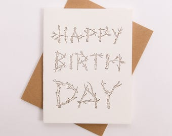 Birthday Card - Tree Branch Lettering