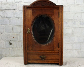 RESERVED CHENI Vintage Wooden Medicine Wall Cabinet Apothecary Oval Beveled Glass Mirror