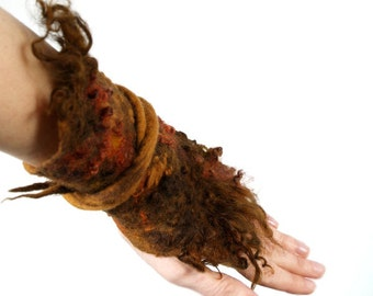 Felted fur bracelet felt single cuff wrist warmer brown wool curls orange art cuff gypsy OOAK