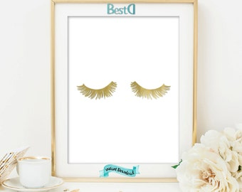 Gold lashes print,eyelashes print,Instant Download,fashion print,makeup print,gift for her,glam print,vanity wall decor,gold glam printable