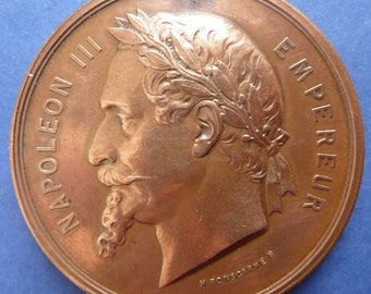 Interesting Paris Exhibition Medal Of 1867. Napoleon III and The Company of Turquetin & Malzard Depicted