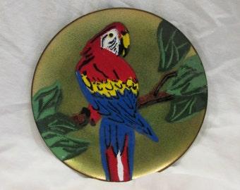 Copper Enamel Art Dish, Annemarie Davidson, Parrot, Artist Signed, Original Sticker, California, 1970's