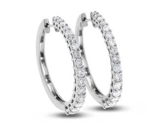 """1.60 Ct. Natural Diamond Graduated Hoop Earrings In Solid 14k White Gold 1"""" L"""