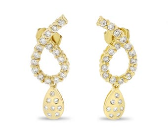 1.44 Ct. Natural Diamond Dangle Tear Drop Earrings In Solid 14k Yellow Gold