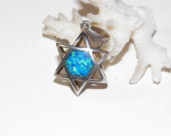 Sterling Silver Star Of David Pendant With Opal