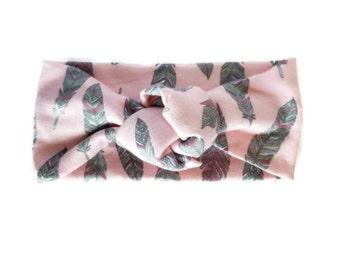SALE Pink Feather Headband / Knot Tied Turban / Newborn Baby Girl Children Women Babies Adult Blush Pink Headbands Headwrap Feathers