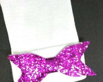 Newborn Hospital Hat. White with Purple/Pink Shimmer Bow. 1st Keepsake! Newborn Beanies. Great Going Home Hat