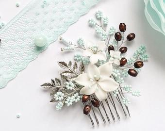 Bridal floral headpiece, Mint Bridal Hair comb, Bridal Hair Piece, Mint Green Hair Piece, Floral mint hair comb, wedding mint headpiece