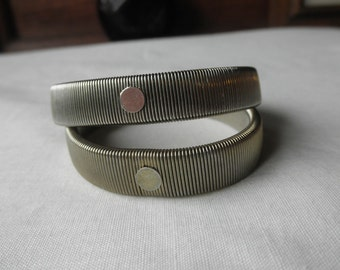 TWO 1980s Stretchy Expandable Metallic Bracelets with Free Shipping