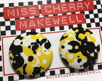 Yellow Abstract Paint Splat Distressed Fabric Button Rockabilly 1950's Pin Up Retro Vintage Inspired Stud Earrings By Miss Cherry Makewell