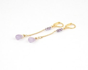 DROPS - Earrings gold filled and semi-precious stones Amethist and Ametrine
