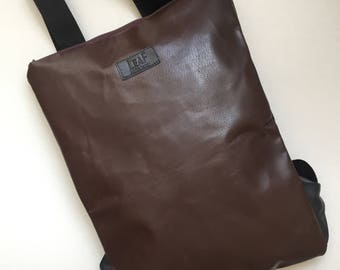 Dark brown leather backpack | Convertible backpack purse | Brown leather backpack | Chocolate backpack purse | Leather backpack | Upcycled