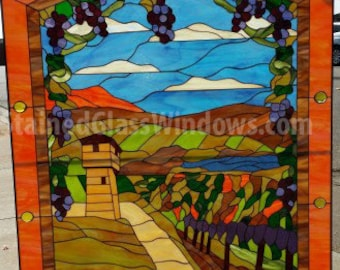Tuscan Vineyard Wine Country Stained Glass Window Panel (We do custom work! Please email me for a quick quote)