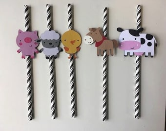 10 Farm animals paper straws. set of 10. Birthday party. Cow,pig,lamb,horse,chick