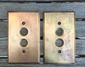 Pair of Solid Brass Vintage Push Button Switch Plates