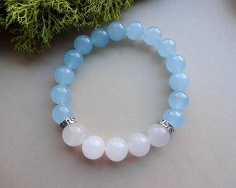 Blue white Chalcedony powerful stretch Bracelet