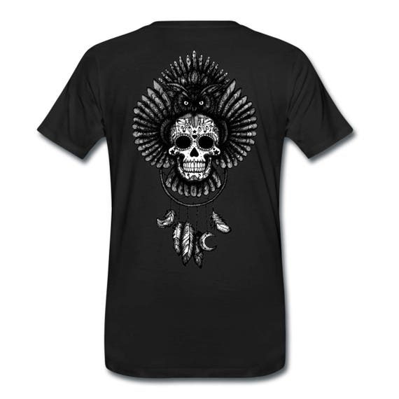 Dreamcatcher Owl Sugar Skull Totem Back Print Men's Ethically Produced Cotton T-Shirt *Grey, Black Or White* Sizes S-5XL. Plus Sizes.